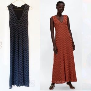 Zara Knit Chevron Maxi Dress S